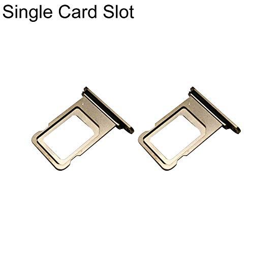 zNLIgHT Interne Telefoononderdelen | Vervangende Metalen Telefoon Enkele/Dubbele sleuf SIM-kaarthouder Lade voor iPhone Xs Max - Gouden 2 stks Single Card Slot