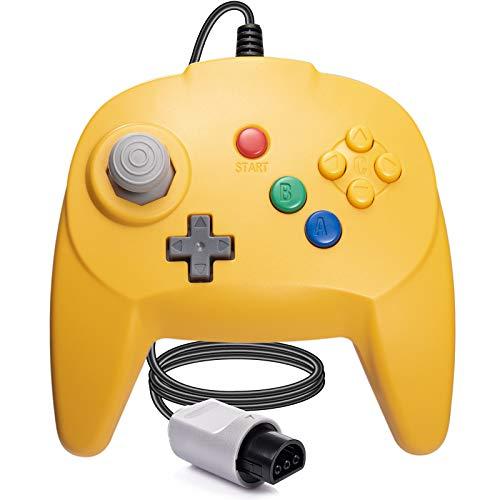 [Nueva versión] para controlador N64, mando de juego para N64 – Plug & Play (versión USB no PC) (Joystick del Japón), color amarillo