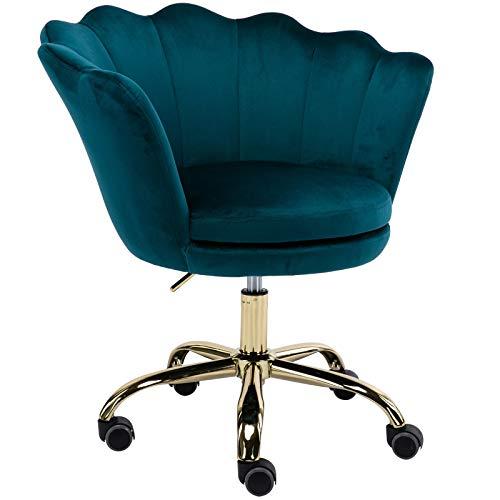 Wahson Home Office Task Chair with Wheels, Velvet Scallop Back Swivel Desk Chair, for Kids, Women, Girls Living Room, Vanity, Teal Blue