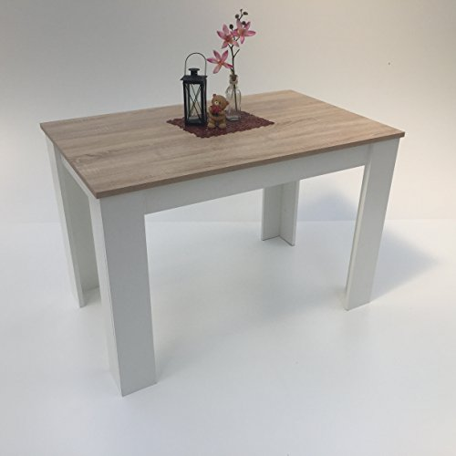 Möbel SD Esszimmertisch Sonoma Eiche hell Sägerau /Weiß110x70cm