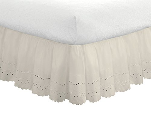 "Fresh Ideas Bedding Eyelet Ruffled Bedskirt Classic 14"" drop length Gathered Styling, Queen, Ivory"