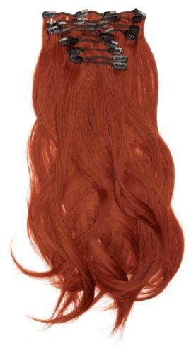 Love Hair Extensions - LHE/K1/QFC/120G/10PCS/18/35 - Thermofibre(TM) Lisses et Soyeux - 10 Pièces Clippants en Extensions - Couleur 35 - Cuivre Profond - 46 cm