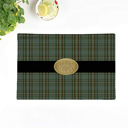 Topyee Set of 6 Placemats Irish Kelly Family Tartan Plaid Celtic Knot Surname Kelley 18x12.5 Inch Parties Decor Non-Slip Washable Place Mats for Kitchen Dinner Table Mats