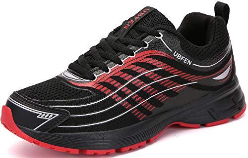 UBFEN Laufschuhe Herren Damen Turnschuhe Fitness Schuhe,44 EU,Schwarz Rot