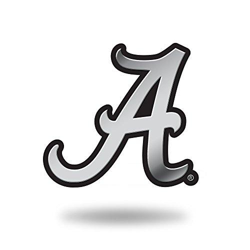 NCAA Rico Industries Chrome Finished Auto Emblem 3D Sticker, Alabama Crimson Tide,Team Color,3 x 3.5-inches