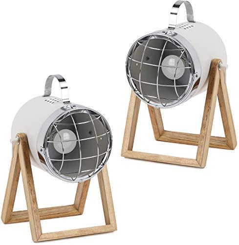 BRUBAKER 2er Set Tisch- oder Bodenlampen Strahler Industrial Design - bis 42 cm Höhe - Fuß aus Holz - Scheinwerfer Metall Weiß