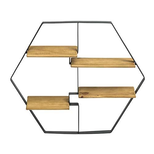 LZ 4 Tier massief houten wandplank, rustieke zeshoek ijzeren frame drijvende planken muur gemonteerd, cederhouten opknoping planken, opslag rekken planken voor keuken, metalen boekenplank, natuurlijke