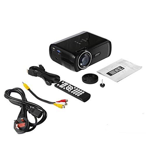 LESHP Proyector de video LED multimedia portátil 1080P HD 1200 LM con Keystone para Office Home Cinema Theater TV Juego 1000: 1 - Negro