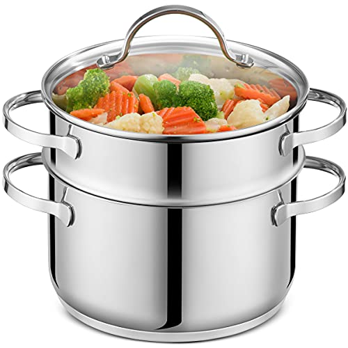 GOURMEX Tango Induction 3Pc Steamer Pot | Multi Level Food Steamer With Glass Cookware Lid | Double...