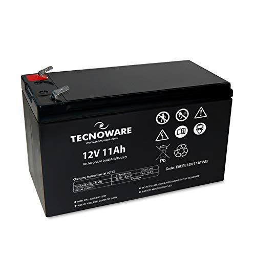 Tecnoware Batteria Ermetica al Piombo 12 V - per UPS, Sistemi di Videosorveglianza e Allarme - Attacco Faston 6.3 mm - Dimensioni 15,1 x 9,4 x 6,5 cm - Capacità 11 Ah