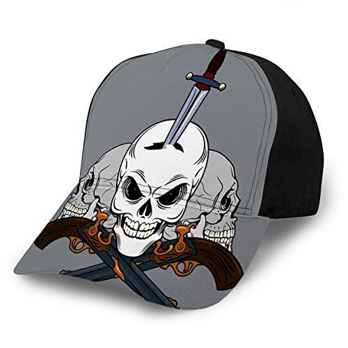 Beibao-shop Gorra de Gorra Gorra de béisbol Sombreros Cráneo Ajustable con Daga en la Cabeza Old School Tattoo St
