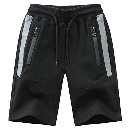 Echinodon Kinder Sweatshorts Jungen 1/2 Hose Kurz Weiche Shorts Baumwolle Sport Freizeit Grau Sommer Sweat Shorts (164, A-Schwarz)