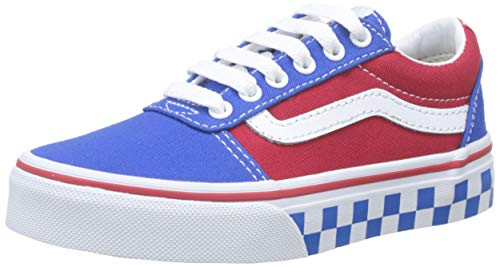 Vans Jungen Ward Canvas Sneaker, Mehrfarbig ((Checker Tape) Princess Blue/Racing Red V0x), 32.5 EU