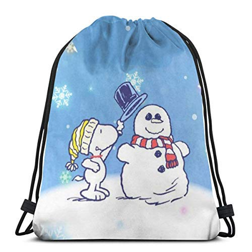 XCNGG Bolsa con cordón Bolsa con cordón Bolsa portátil Bolsa de Gimnasio Bolsa de Compras Classic Drawstring Bag- and Snowman Gym Backpack Shoulder Bags Sport Storage Bag for Man Women