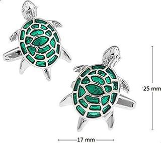 Men's French shirt cute tortoise metal green cufflinks CZ31