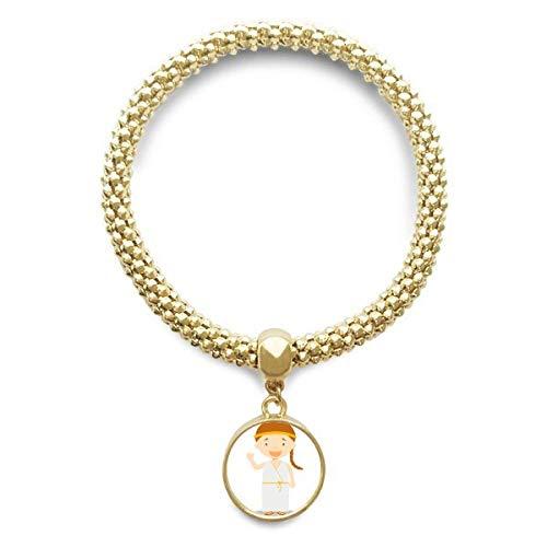 DIYthinker Or Longue Robe Blanche Grèce Cartoon Bracelet Ronde Pendentif chaîne de Bijoux pour Les Femmes