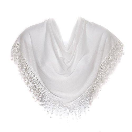 Hat To Socks Dreieckstuch mit Geklöppelten Fransen für Damen (Weiß)