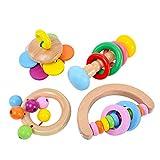 Montessori - Juego de 4 cascabeles de madera para guardar sonajeros, juguete para bebé