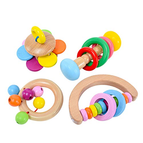 Fantastic Prices! Dayloveme 4Pcs Montessori Wooden Rattles Hold Rattle Hand Bell Gift Baby Toys Todd...