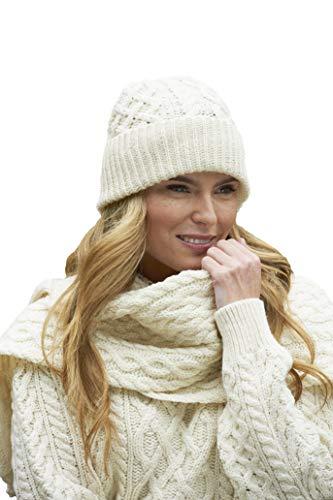 Aran Crafts Irish Soft Cable Knitted Wool Trellis Pattern Scarf (X4840-NAT)