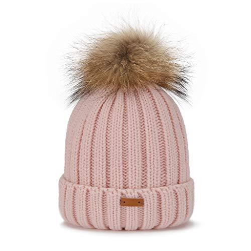 Zhanyi Fashion Faux-Pelz-Pompoms gebreide muts vrouwelijke wilde warme muts winterreit wind dondoorlatende dikke gehoorbescherming dubbele gebreide muts