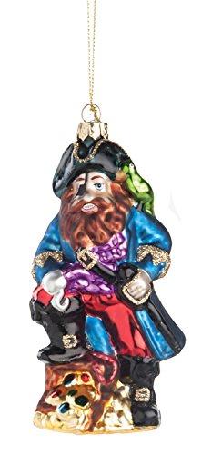 CFF Blackbeard Pirate Blown Glass Christmas Holiday Ornament