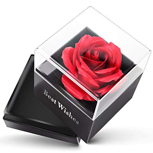 Swonuk Halskette Geschenkbox, Konservierte Rosenbox Schmuckschatulle mit Schublade, Frauen zum Valentinstag, Hochzeitstag, Muttertag, Jubiläum, Geburtstag