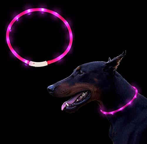 BRIGHTSTAR S-XXL Hunde Leuchthalsband LED Hundehalsband Leuchtband Leuchtschlauch+USB Kabel (Rosa)