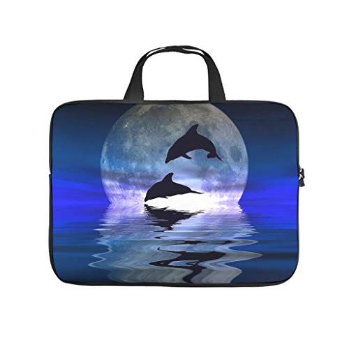 Dolphins Flying in Moonlight Over Sea Level Laptop Bag Waterproof Protective Case for Laptops Pattern Notebook Bag for University Work Business