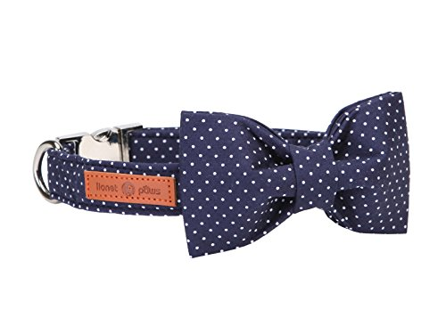 Lionet Paws Cotton Dog Collar with Bowtie, Durable Adjustable and Comfortable Collar for Medium Dogs, Neck 34-55cm