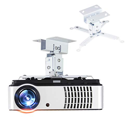 Ratelu Ceiling Projector Mount Adjustable Projector Wall Mount Universal Projector Mount 4.7 inch Thickened Steel for LCD/DLP Ceiling Projector BenQ, ViewSonic, Epson, Optoma, Asus Acer White
