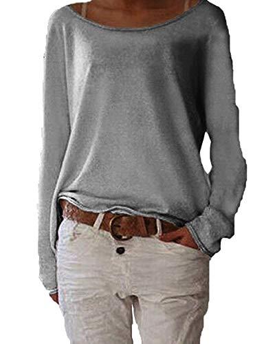 Damen Pulli Langarm T-Shirt Rundhals Ausschnitt Lose Bluse Hemd Pullover Sweatshirt Oberteil Tops B Grau M