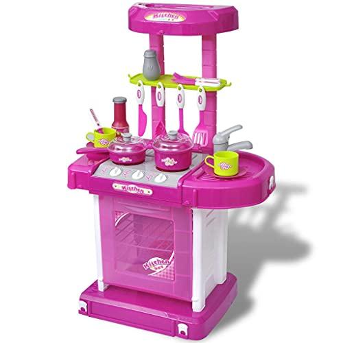 LINWXONGQP Color: Rosa Cocinita de Juguete para niños con Efectos de luz y Sonido Rosa