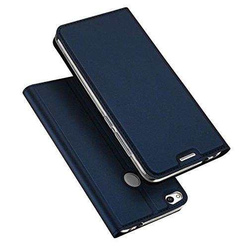 Verco Handyhülle für P8 Lite 2017, Premium Handy Flip Cover für Huawei P8 Lite 2017 Hülle [integr. Magnet] Book Hülle PU Leder Tasche, Blau