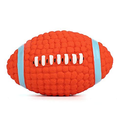 iNszkoos Quietschender Hundeball aus Naturkautschuk, Kauspielzeug für Hunde, Fußball, Rugby-Ball, langlebig, interaktives Spielzeug für mittelgroße und große Hunde, lindert Langeweile