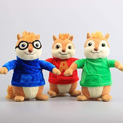 DOUFUZZ Giocattoli Film Alvin e Il Chipmunks Peluche Bambole Carino Chipmunks ripieni Giocattoli per Bambini Compleanno Regalo 23 Cm 3 Pc