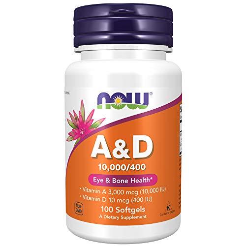 NOW Supplements, Vitamin A & D 10,000/400 IU, Eye Health*, Essential Nutrition, 100 Softgels
