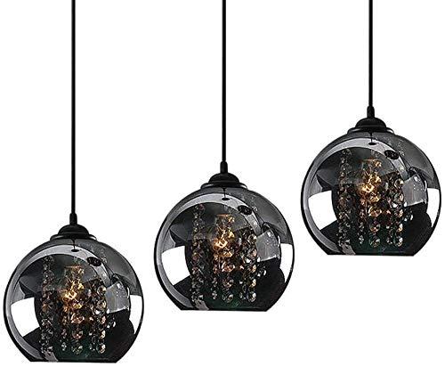 Lampadario a LED in cristallo K9 Lampada da tavolo a sospensione regolabile in altezza Lampada da pranzo Lampada a sospensione vintage in vetro Globo paralume E27 Lampada da soffitto Soggiorno,B