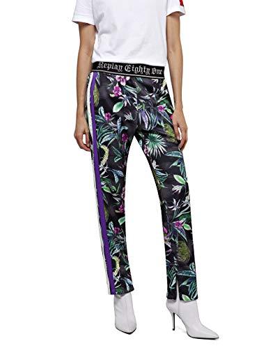 Replay Damen W8858 .000.72040 Hose, Mehrfarbig (Black&Multicolor Flowers 10), W(Herstellergröße: XXS)