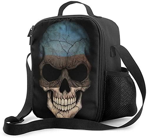 Isolierte Lunchtasche mit dunkler Estlandische Flagge & Totenkopf, auslaufsicher, flach, Kühltasche mit Schultergurt für Damen & Herren, geeignet für Arbeit & Büro