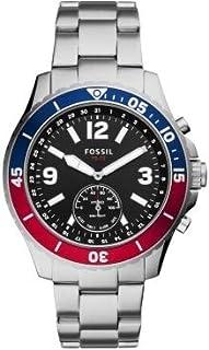 Fossil Hybrid Smartwatch FB-02 con quadrante nero e bracciale in acciaio inossidabile color argento da uomo FTW1307