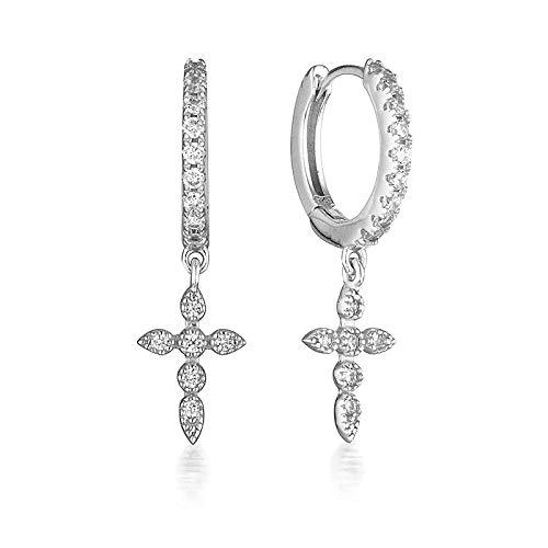 Pendientes Mujer Pendientes De Aro De Plata De Ley 925 para Mujer, Cristal De Circonita Simple, Color Dorado Y Plateado, Joyería De Moda-Silver_1