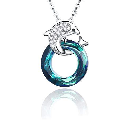 Dolphin Necklace 925 Sterling Silver Dolphin Jewelry Blue Crystals Circle Pendant Necklace for Women(Dolphin Necklace)