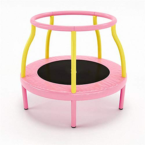 JYTTCE Laag Ruis En Veilig Binnen Trampoline 360° Handrail Kindertrampoline, Kan Weerstaan 100KG, 48 Inch Yoga levert trampoline roze