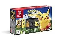 """Console Nintendo Switch decorata con le silhouettes di Pikachu e Eevee Joy-Con e doking station speciali a tema Pikachu & Eevee Poké Ball Plus inclusa nel bundle Una versione pre-installata di """"Pokémon: Let's Go, Pikachu!"""""""