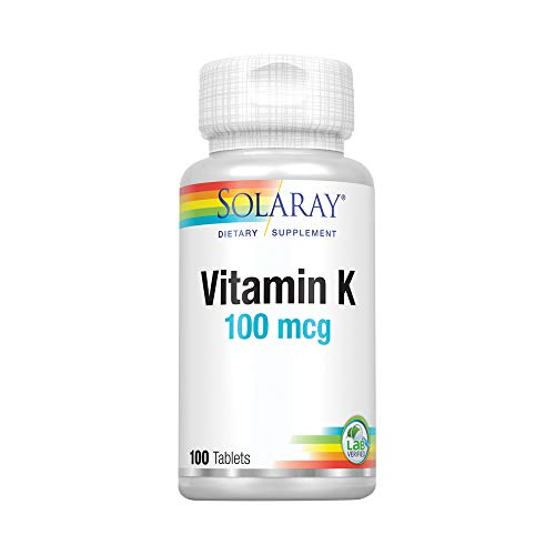 Solaray Vitamin K-1 100mcg | Healthy Bone Structure, Blood Clotting, Protein Synthesis Support | Non-GMO, Vegan & Lab Verified | 100 Tablets
