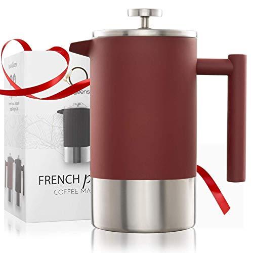 Origeens  French Press Kaffeebereiter 1L | Isoliert, Edelstahl Doppelwandig, mit Messskala | Kaffeekanne - Teebereiter | Umweltfreundlich & CE-konform