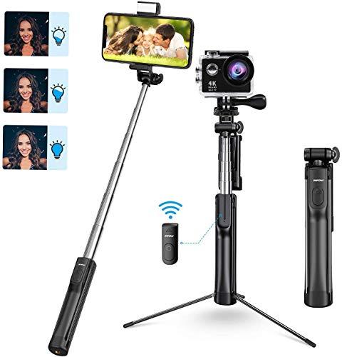 Mpow Handy Stick Bluetooth Selfie Stick Stativ Kamera Stativ 4 in 1   Handy Stativ mit LED Fülllicht für iPhone 11/XR/X/8/7, Galaxy S20/S9/S8/S7, Huawei P30 lite bis zur 6,8 Zoll, Gopro/Kleine Kamera