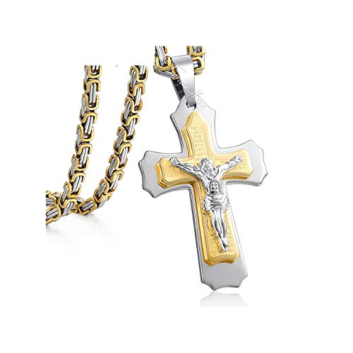 Jesus Cross Pendant Necklace Men Gold Silver Stainless Steel Byzantine Box Chain Jewelry Gift