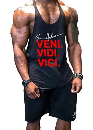 Befox - Camiseta interior de tirantes para hombre, material elástico, de algodón, para el gimnasio y de estilo atlético Negro M